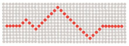 De witte en rode pillen maakten een cardiogramvorm Stock Afbeeldingen