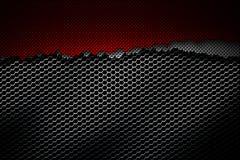 De witte en rode scheur van de koolstofvezel op het zwarte metaalnetwerk Royalty-vrije Stock Afbeeldingen