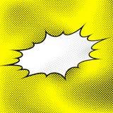 De witte explosie van de pop-artstijl over gele gestippelde achtergrond Royalty-vrije Stock Foto's
