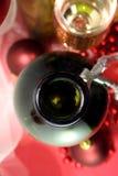 De witte fles van het wijnglas Royalty-vrije Stock Foto's