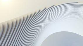 De witte futuristische achtergrond van het streeppatroon 3d geef illustratie terug Stock Afbeelding