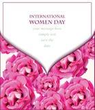 De witte Gevoelige roze kaart van de rozenbloesem Mooie Prentbriefkaar voor Huwelijken, Verjaardag, Verjaardag Vector illustratie Stock Afbeeldingen