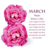 De witte Gevoelige roze kaart van de rozenbloesem Mooie Prentbriefkaar voor Huwelijken, Verjaardag, Verjaardag Vector illustratie Stock Fotografie