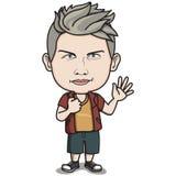 Mannelijk Oud Volwassen Karakter - het Teken van de Hand van Hello vector illustratie