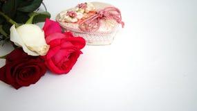 De Witte groetkaart, nam toe, rood nam toe, roze nam op geïsoleerd toe Royalty-vrije Stock Fotografie