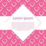 De witte hand trekt harten op roze kader als achtergrond en ruit voor tekst Stock Foto
