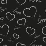 De witte harten en een liefdeinschrijving op een zwarte achtergrond Patroon Vectorillustratie stock afbeelding