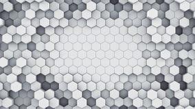 De witte hexagonale cellen vatten het 3D teruggeven samen Royalty-vrije Stock Afbeeldingen