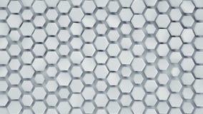 De witte hexagonale 3D samenvatting als achtergrond geeft terug royalty-vrije illustratie