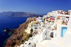 De witte huizen van Santorini Royalty-vrije Stock Foto's