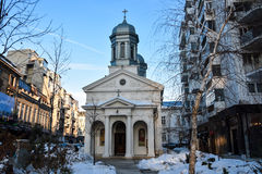 De Witte Kerk op Calea Victoriei Alba Biserica Stock Foto's
