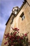 De witte Kerk Rode Bouganvillea Mexico van de Steen Stock Foto's