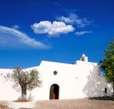 De witte kerk van Ibiza Santa Agnes DE Corona Ines Stock Afbeeldingen