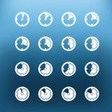 De witte klem-kunst van klokpictogrammen op kleurenachtergrond Royalty-vrije Stock Foto