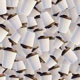 De witte Koffiekoppen met Dark dekt Naadloze Achtergrond af Stock Afbeelding