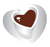 De witte kop van de Koffie van het Hart Royalty-vrije Stock Afbeeldingen