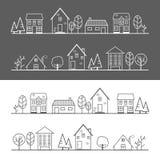 De witte lijn van het pictogramdorp en zwarte lijn royalty-vrije illustratie