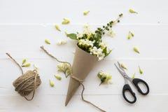 De witte lokale flora van de bloemenjasmijn van Azië op wit stock foto's