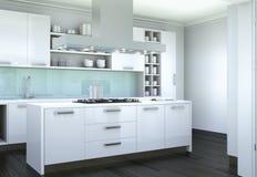 De witte moderne illustratie van het keuken binnenlandse ontwerp Stock Foto's