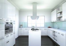 De witte moderne illustratie van het keuken binnenlandse ontwerp Stock Afbeelding