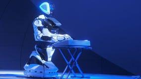 De witte muziek van robotspelen op stadium Spelentrommels voor het publiek Nieuwe technologie?n in art. De robot leidt tot muziek stock footage