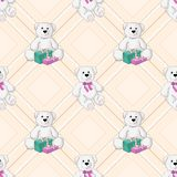 De witte naadloze achtergrond van de teddybeerkleur Royalty-vrije Stock Afbeeldingen