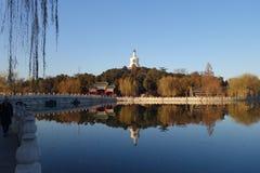 De Witte Pagode, Beihai-Park, Peking Royalty-vrije Stock Foto