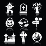 De witte pictogrammen van Halloween die op zwarte worden geplaatst Stock Fotografie