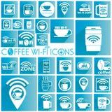 De witte pictogrammen van koffiewifi Royalty-vrije Stock Afbeeldingen
