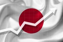 De witte pijlgroei omhoog op de achtergrond van de vlag van Japan stock illustratie