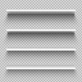 De witte planken van het winkelproduct Lege lege showcasevertoning, kleinhandelsplanken Boekenkast vectormodel vector illustratie
