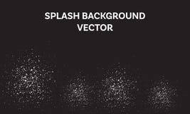 De witte plons op zwarte achtergrond vector, abstracte kruimelillustratie, deeltje tuimelt neer royalty-vrije illustratie