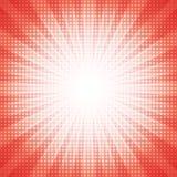 De witte punten halftone met rode abstracte ster barsten abstract concept als achtergrond Stock Foto