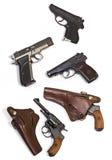 De witte revolver van het achtergrondwapenspistool Royalty-vrije Stock Foto's