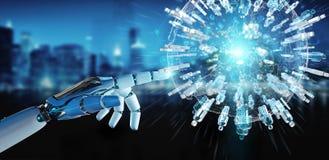 De witte robothand die digitale bol gebruiken om 3D mensen te verbinden geeft terug Stock Foto's