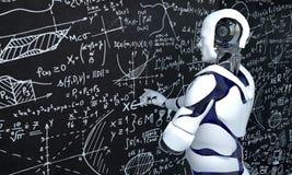 De witte robottechnologie werkt aan wiskunde, chemie, biologie, wetenschap royalty-vrije illustratie