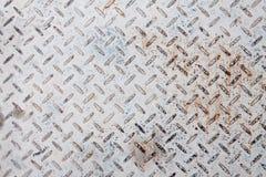 De witte roestige vloer van de staalplaat Stock Afbeeldingen