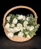 De witte rozen liggen aan een mand Royalty-vrije Stock Afbeelding
