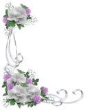 De Witte Rozen van de Grens van de Uitnodiging van het huwelijk Stock Afbeelding