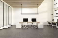 De witte ruimte van het muurbureau, computers stock illustratie