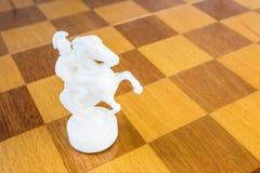 De witte schaakridder van steen op de vierkante houten raad Stock Afbeeldingen