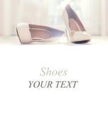 De witte schoenen van het huwelijk Royalty-vrije Stock Fotografie