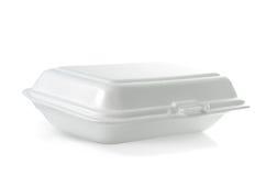 De witte schuimdoos isoleerde op wit gebruik voor multifunctioneel: Knippend inbegrepen weg stock foto