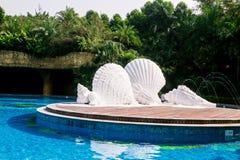 de witte Shell-kroonslak van de overzeese blauwe cirkel van het zwembadbomen waterzonneschijn Stock Foto