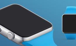 De witte slimme klok isoleerde 3d concept op witte achtergrond Stock Afbeeldingen