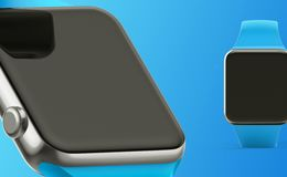 De witte slimme klok isoleerde 3d concept op witte achtergrond Stock Foto's