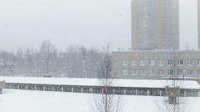 De witte sneeuw valt langzaam van de hemel stock footage