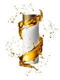 De witte spot van de roomfles omhoog van de gouden kleur van de waterplons Royalty-vrije Stock Foto's