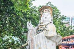 De witte standbeelden van Kwun-Yam bij Kwun-Yamtempel, Hong Kong Royalty-vrije Stock Foto's