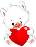 De witte teddybeer van de valentijnskaart Stock Fotografie